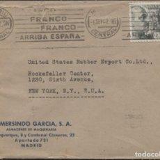 Sellos: 1942 SOBRE PUBLICITARIO MADRID NUEVA YORK. CENSURAS Y LLEGADA (VER REVERSO). Lote 207190420