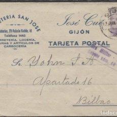 Sellos: 1943 TARJETA PUBLICITARIA GIJÓN BILBAO. CENSURA. Lote 207191435