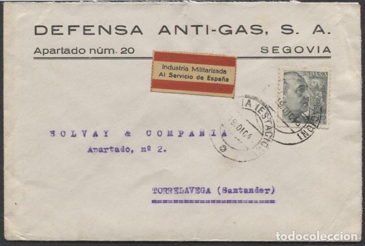 1945 SOBRE PUBLICITARIO SEGOVIA TORRELAVEGA. INDUSTRIA MILITARIZADA (Sellos - España - II República de 1.931 a 1.939 - Cartas)