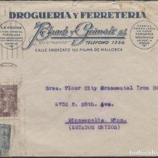Sellos: 1946 SOBRE PUBLICITARIO PALMA DE MALLORCA MINEAPOLIS.. Lote 207275787