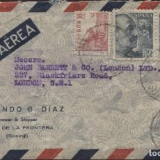 Sellos: 1948 SOBRE PUBLICITARIO CORREO AÉREO JEREZ LONDRES. AMBULANTA (VER REVERSO). Lote 207277095