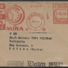 "Sellos: 1949 FAJA PUBLICITARIA ""RELOJES"" MADRID TOTANA. FRANQUEO MECANICO Nº 406. Lote 207278528"