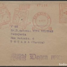 "Sellos: 1950 FAJA PUBLICITARIA ""RELOJES"" MADRID TOTANA. FRANQUEO MECANICO Nº 406. Lote 207278975"