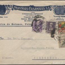 """Sellos: SOBRE PUBLICITARIO """"BOTONES Y PEINES"""" BARCELONA HAMBURGO. VIÑETA FRENTES Y HOSPITALES. Lote 207283192"""