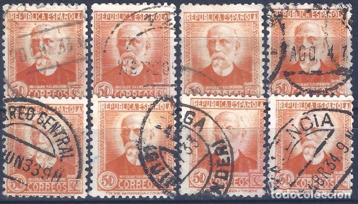 EDIFIL 671 PERSONAJES (NICOLÁS SALMERÓN) 1932. LOTE DE 8 SELLOS. (Sellos - España - II República de 1.931 a 1.939 - Usados)