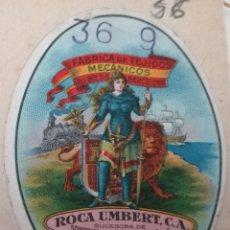 Sellos: VIÑETA COMERCIAL PEGADA A LIBRO CUENTAS. ROCA UMBERT, BARCELONA. Lote 209864500