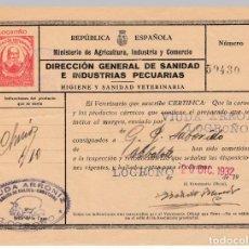 Selos: 1932 SELLO IMPRESO 10 CTS ASOCIACION VETERINARIA LOGROÑO VIUDA ARRONIZ DULCES EMBUTIDOS CERTIFICADO. Lote 210024941