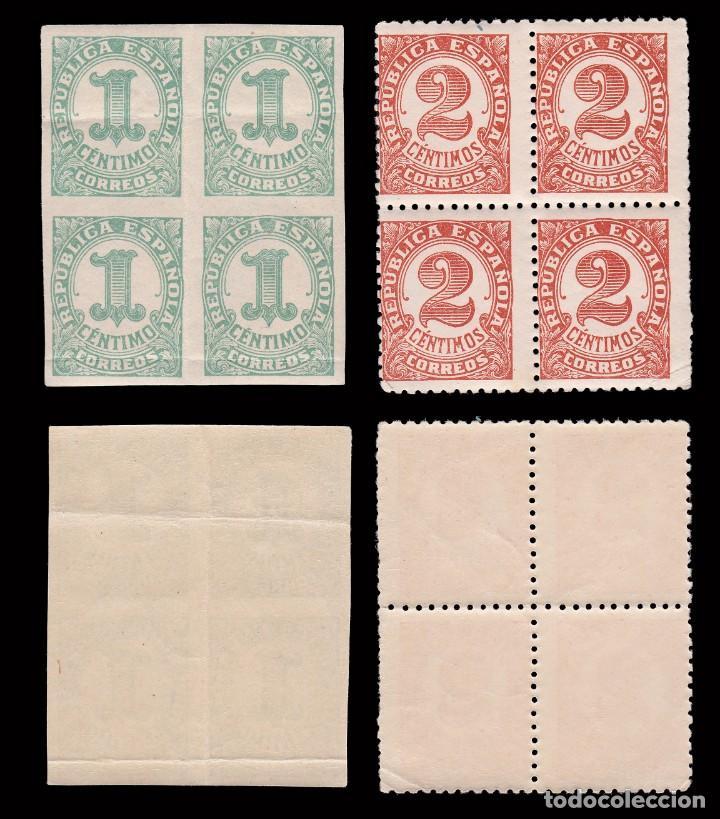 Sellos: 1933. Cifras. Serie.Blq4.MNH Edifil. 677-678 - Foto 2 - 210038435