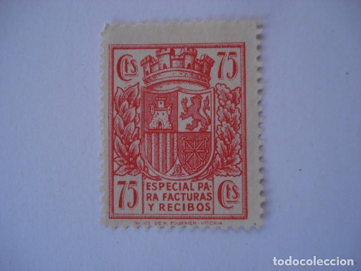 TIMBRE ESPECIAL PARA FACTURAS Y RECIBOS 75 CTS FOURNIER VITORIA (Sellos - España - II República de 1.931 a 1.939 - Usados)