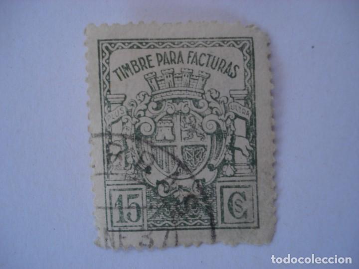 TIMBRE PARA FACTURAS 15 CTS (Sellos - España - II República de 1.931 a 1.939 - Usados)