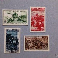 Sellos: ESPAÑA- II REPUBLICA-1939- EDIFIL NE 55A/NE 55D -F- SERIE COMPLETA -(*)- NUEVOS + CP.CERTICADO COMEX. Lote 210528288