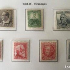 Sellos: 1933/1935-ESPAÑA PERSONAJES EDIFIL 681 Y 683/88 MNH** 682 MH* - BUENOS CENTRAJES -. Lote 212104021