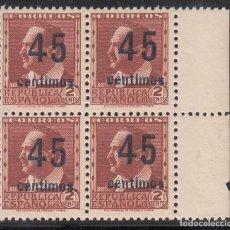Sellos: ESPAÑA, 1938 EDIFIL Nº NE 28 /**/, NO EXPENDIDO, SIN FIJASELLOS, BLOQUE DE CUATRO.. Lote 212105017
