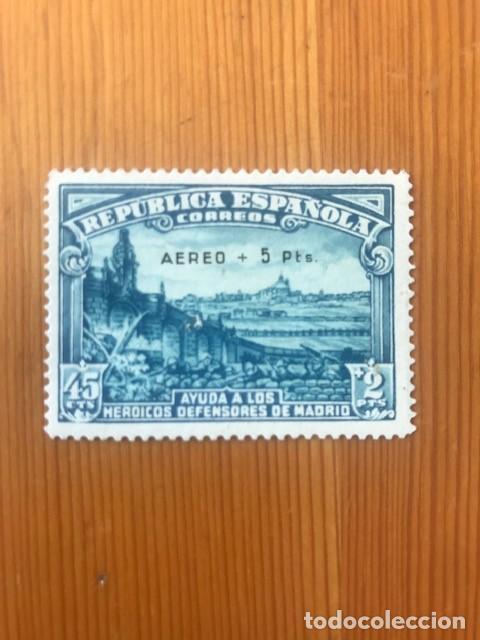 DEFENSA DE MADRID-SOBRECARGADO AEREO-1938-EDIFIL 759-MARQUILLADO (Sellos - España - II República de 1.931 a 1.939 - Nuevos)
