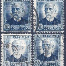 Francobolli: EDIFIL 688 NICOLÁS SALMERÓN 1933-1935. LOTE DE 4 SELLOS (VARIEDAD 688IP...AUREOLA).. Lote 214245383