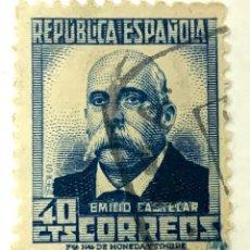 Sellos: SELLO ESPAÑA REPUBLICA DE ESPAÑA 40 CENTIMOS AZUL EMILI CASTELAR 1936. Lote 215047957
