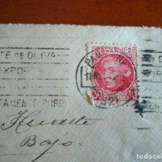 Sellos: CARTA CON SOBRE Y SELLO SEGUNDA REPÚBLICA 1935 LACRE EN EL REVERSO - PAMPLONA. Lote 216821351