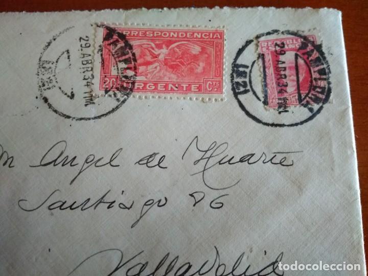 SOBRE CON SELLOS DE LA SEGUNDA REPÚBLICA Y DE CORRESPONDENCIA URGENTE - 1934 PAMPLONA (Sellos - España - II República de 1.931 a 1.939 - Cartas)