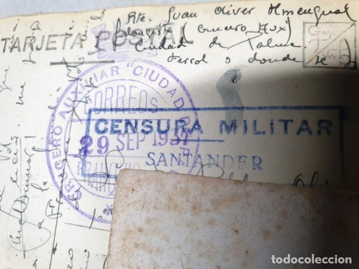 POSTAL MATASELLOS FRANQUICIA CRUCERO AUXILIAR CIUDAD DE PALMA. 29/09/1937. CENSURA MILITAR. (Sellos - España - II República de 1.931 a 1.939 - Cartas)