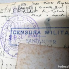 Timbres: POSTAL MATASELLOS FRANQUICIA CRUCERO AUXILIAR CIUDAD DE PALMA. 29/09/1937. CENSURA MILITAR.. Lote 217478783