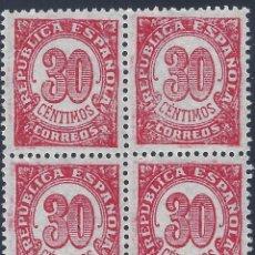 Sellos: EDIFIL 750 CIFRAS 1938 (BLOQUE DE 4). MNH **. Lote 217609755