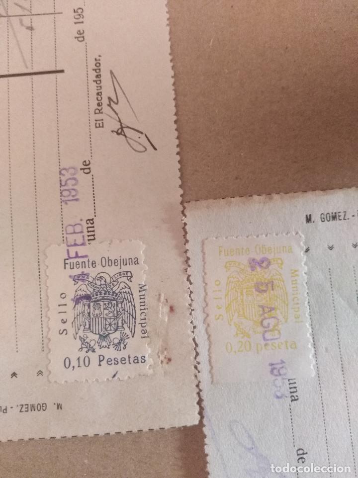 LOTE 2 SELLOS LOCALES FUENTE OBEJUNA CORDOBA ARBITRIOS MUNICIPALES RECIBOS 1953 LEER VER IMAGEN (Sellos - España - II República de 1.931 a 1.939 - Cartas)