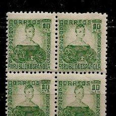 Sellos: II REPUBLICA - PERSONAJES - MARIA PINEDA - EDIFIL 682 - 1933-35 - BLOQUE DE CUATRO. Lote 218138548