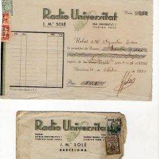 Sellos: RADIO UNIVERSITAT. BARCELONA. 1933 SOBRE + RECIBO. Lote 218361368