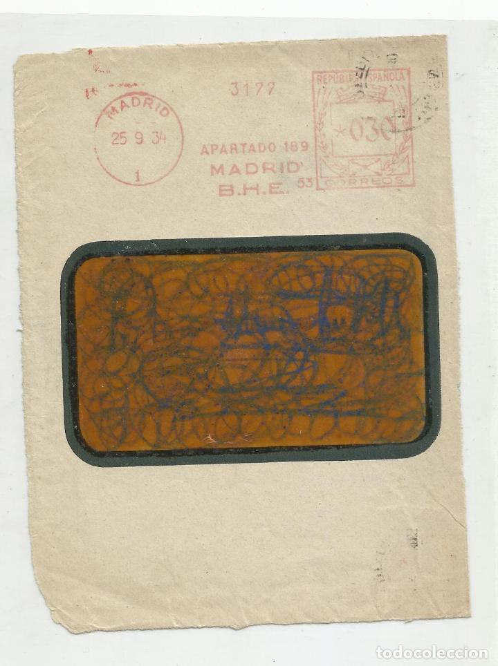 FRANQUEO MECANICO 1934 BANCO HISPANO AMERICANO MADRID (Sellos - España - II República de 1.931 a 1.939 - Cartas)