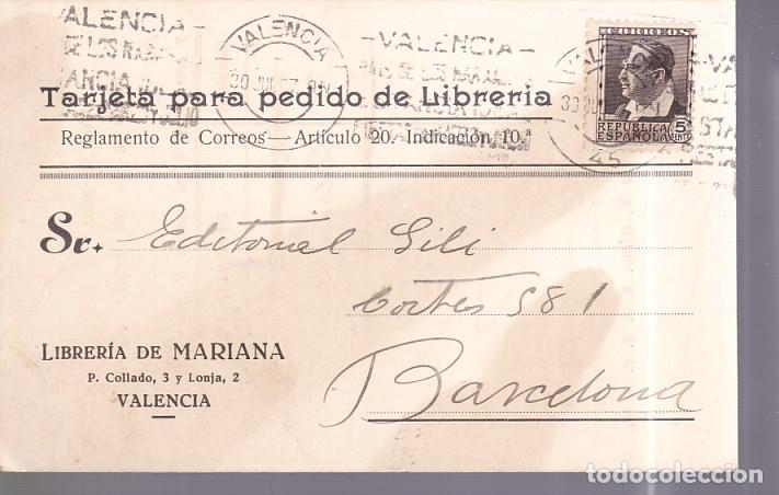 HP4-6- TARJETA PEDIDO LIBRERÍA MARIANA VALENCIA 1937 (Sellos - España - II República de 1.931 a 1.939 - Cartas)
