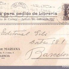 Timbres: HP4-6- TARJETA PEDIDO LIBRERÍA MARIANA VALENCIA 1937. Lote 218929461