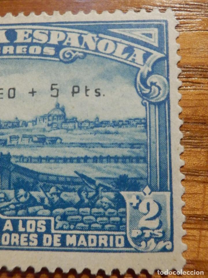 Sellos: EDIFIL Nº 759 Defensa Madrid - Aereo + 5 Pesetas - AÑO 1938, CON GOMA, SIN FIJASELLOS Catálogo 900 € - Foto 10 - 219525700