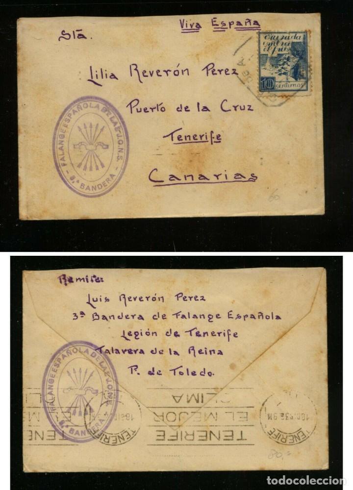 FALANGE TERCERA BANDERA TALAVERA DE LA REINA FRANQUICIA MILITAR - SELLO CRUZADA CONTRA EL FRIO (Sellos - España - II República de 1.931 a 1.939 - Cartas)