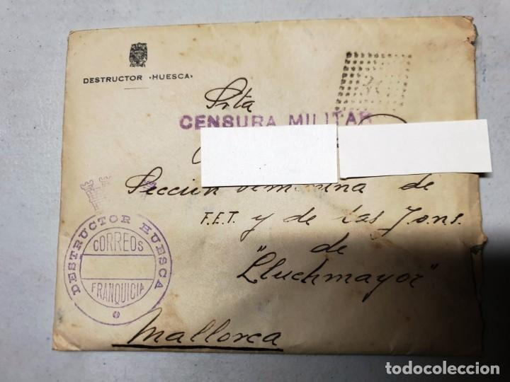 SOBRE FRANQUICIA DESTRUCTOR HUESCA. CENSURA MILITAR. CARTA FECHADA EL 16/02/1939 (Sellos - España - II República de 1.931 a 1.939 - Cartas)