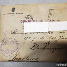 Timbres: SOBRE FRANQUICIA DESTRUCTOR HUESCA. CENSURA MILITAR. CARTA FECHADA EL 16/02/1939. Lote 220786007