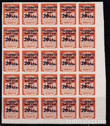 BLOQUE 25 SELLOS TELEGRAFOS BARCELONA AÑO 1936 EDIFIL 11 S NUEVOS GRAN VALOR CATALOGO (Sellos - España - II República de 1.931 a 1.939 - Nuevos)