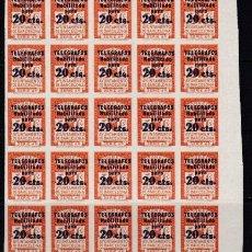 Sellos: BLOQUE 25 SELLOS TELEGRAFOS BARCELONA AÑO 1936 EDIFIL 11 S NUEVOS GRAN VALOR CATALOGO. Lote 221339842