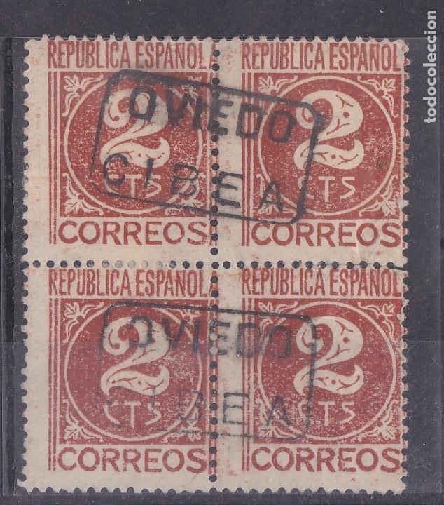 JJ3- CIFRA REPÚBLICA BLOQUE DE 4 MATASELLOS CARTERÍA CIBEA (OVIEDO) (Sellos - España - II República de 1.931 a 1.939 - Usados)