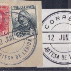 Timbres: JJ3- PERSONAJES REPÚBLICA MATASELLOS CARTERÍA IP ARTESA DE LERIDA . FRAGMENTO. LUJO. Lote 221720753