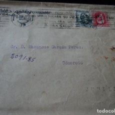 Sellos: SOBRE DE MURCIA A JUMILLA 1937 SELLOS DE LA REPUBLICA. Lote 221994420