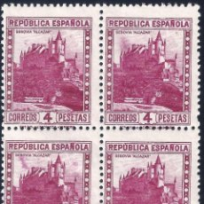 Sellos: EDIFIL 674 ALCÁZAR DE SEGOVIA 1932 (BLOQUE DE 4) (VARIEDAD...IMPRESIÓN).VALOR CATÁLOGO: 16 €. MNH **. Lote 222000422