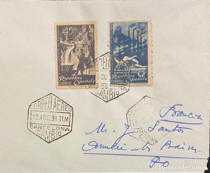 SEGUNDA REPÚBLICA ESPAÑOLA, CARTA CIRCULADA EN EL AÑO 1938 (Sellos - España - II República de 1.931 a 1.939 - Cartas)