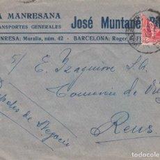 Sellos: BISECTADO - SOBRE DE LA MANRESANA DE JOSÉ MUNTANÉ-MANRESA. A IZAGUIRRE EN REUS -. Lote 222041736