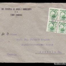 Sellos: ** CARTA EIBAR (GUIPUZCOA)-DOEBELN (ALEMANIA) 1937. SOC. ESPAÑOLA DE ARMAS Y MUNICIONES. EDIF 656 **. Lote 222043171
