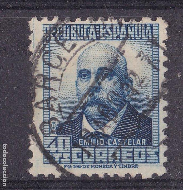 LL13- CASTELAR REPÚBLICA CON CIFRA AL DORSO. EDIFIL 660 USADO BARCELONA CENTRADO. PERFECTO (Sellos - España - II República de 1.931 a 1.939 - Usados)