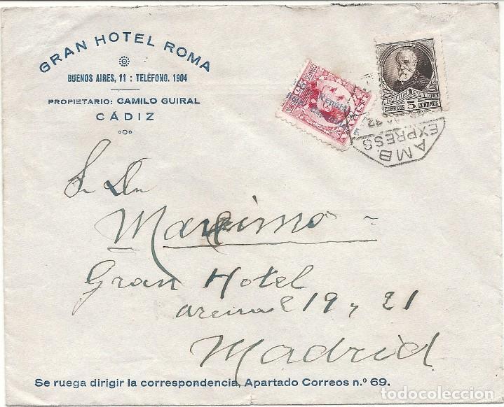 II REPÚBLICA ESPAÑOLA.AÑO 1932.CARTA CIRCULADA; CADIZ - MADRID (Sellos - España - II República de 1.931 a 1.939 - Cartas)