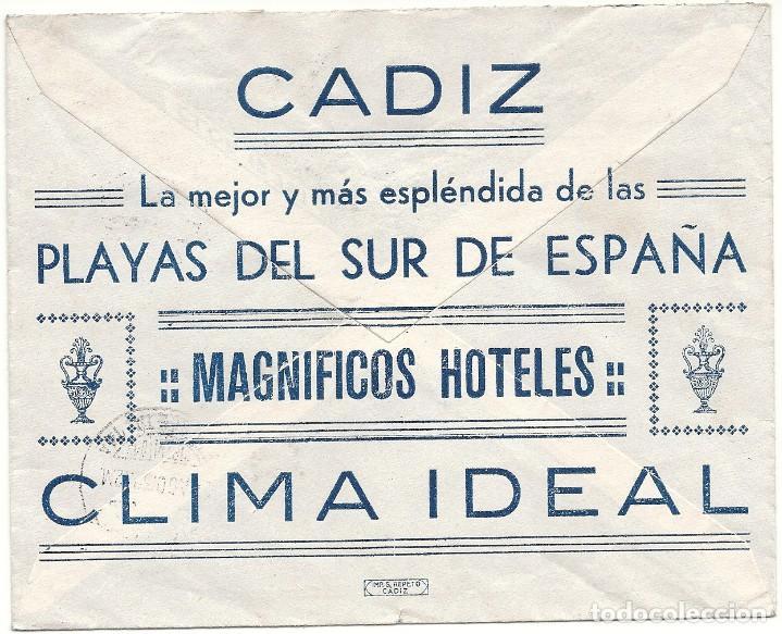 Sellos: II REPÚBLICA ESPAÑOLA.AÑO 1932.CARTA CIRCULADA; CADIZ - MADRID - Foto 2 - 222153503