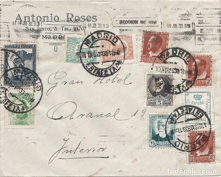 II REPÚBLICA ESPAÑOLA. AÑO 1933. CARTA CIRCULACIÓN MADRID-MADRID. (Sellos - España - II República de 1.931 a 1.939 - Cartas)