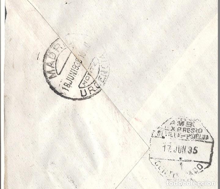 Sellos: II REPÚBLICA ESPAÑOLA. AÑO 1935. CARTA CIRCULADA; HUELVA-SEVILLA-MADRID. - Foto 2 - 222157130