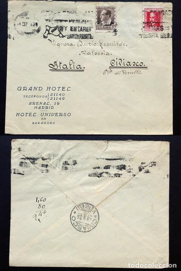 II REPÚBLICA ESPAÑOLA. AÑO 1935. CARTA CIRCULADA ,MADRID-ITALIA. (Sellos - España - II República de 1.931 a 1.939 - Cartas)